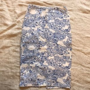 Blue and white floral American Apparel skirt